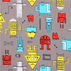 grey Robotic Cosmic Convoy Cloud 9 robot organic fabric for boys 1