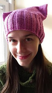 This is a seamless, better-fitting version of the hat everyone's making for the Women's March on Washington on Jan. 21. It's pretty stretchy so will fit a wide range of sizes. Although it's quicker to make than the original pattern on the Pussyhat website (no side seams), it takes a few more tools.