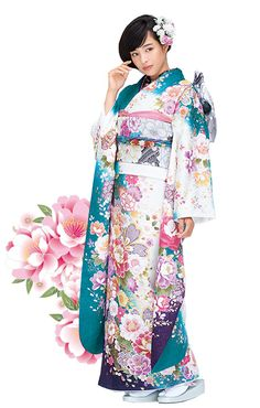 Belleza, armonía y equilibrio entre la hermosa chica japonesa, el kimono y sus colores.