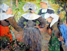 Paul Gauguin - Breton Peasant Women, 1886 at Neue Pinakothek Art Museum Munich Listed in the book - 50 Impressionism Paintings You Should Know