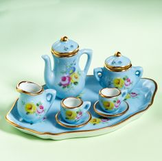 Limoges Blue Tea Service with Roses