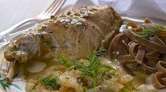 Rezept für Kaninchenkeule in Estragon-Senfsahne mit Fenchelcarpaccio und Steinpilz-Fettucine