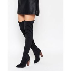 Truffle Collection Scuba Over The Knee Boots With Contrast Heel ($69) ❤ liked on Polyvore featuring shoes, boots, black, above the knee boots, black zipper boots, high heel boots, over knee boots and pointed toe boots
