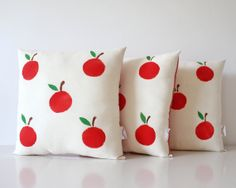 Hand Printed Cushion with Red Apples Handmade by TheFoxintheAttic, £15.00