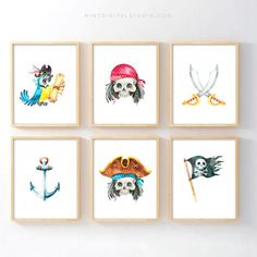 Pirate Nursery Art – Pirate Art for Toddler Boy Room Set of 6 Printable Wall Art For Your Boy Nurser Pirate Baby, Pirate Kids, Pirate Theme, Pirate Room Decor, Pirate Nursery, Boys Pirate Bedroom, Nautical Nursery, Boys Bedroom Decor, Nursery Decor