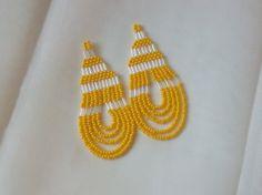 Lemon Yellow Beaded Dangle Earrings
