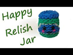 Happy Relish Jar Tutorial by feelinspiffy (Rainbow Loom) Rainbow Loom Tutorials, Rainbow Loom Creations, Rainbow Loom Bands, Rainbow Loom Charms, Loom Bracelet Patterns, Loom Bracelets, Rubber Band Crafts, Rubber Bands, Crafts To Do