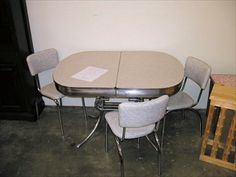 retro table and 3 (4th chair has some damage) $265 Retro Table, Conference Room, Dining Table, Chair, Furniture, Home Decor, Decoration Home, Room Decor, Dinner Table