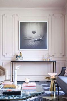 Modern decor | simple but so stylish, modern console tables, shiny brass side tables, black and white floor tiles | http://www.bocadolobo.com/en/ #contemporarydecor #moderninteriordesign