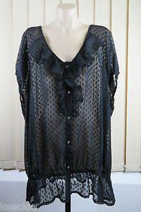 Plus Size 6XL 26 Ladies Black Sheer TOP Tunic Business Cocktail Gothic Design   eBay