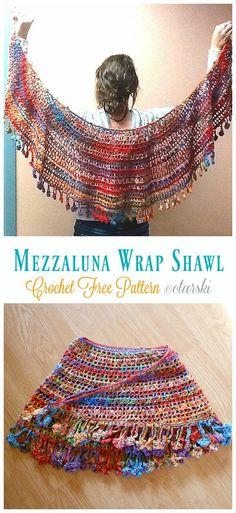Mezzaluna (Crescent Moon) Wrap Shawl Crochet Free Patterns- Women Lace Free Patterns # crocheted shawls and wraps free patterns Luna Lace Shawl Crochet Free Patterns - Crochet & Knitting Beau Crochet, Crochet Prayer Shawls, Poncho Au Crochet, Pull Crochet, Crochet Wrap Pattern, Crochet Shawls And Wraps, Crochet Scarves, Crochet Clothes, Crochet Stitches