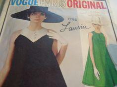 Vintage 1960's Vogue 1785 Lanvin Mod Dress Sewing Pattern, Size 12, Bust 32