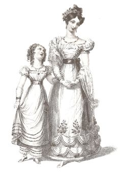 full sleeves and skirt with visible feet, child dressed like adult but with pantaloons, wide sloping shoulders