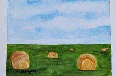 Original landscape painting small painting Bale me