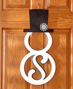 Monogram Snowman Door Hangers