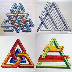 #impossible #isometric #geometry #symmetry #pattern #handmade #penrosetriangle #mathart #regolo54 #Escher #oscarreutersvärd
