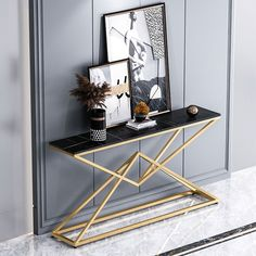 Console Table Styling, Entryway Console Table, Narrow Console Table, Modern Console Tables, Marble Console Table, Decoration, Gold Colour, Color Black, Gold Furniture