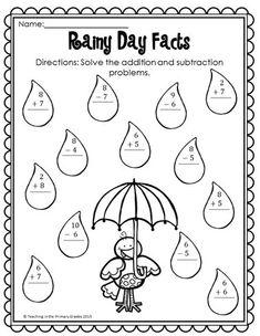 Distance Learning April Math and Literacy Printables-No Prep! First Grade Writing, Teaching First Grade, First Grade Math, Teaching Math, Teaching Ideas, Subtraction Activities, Math Activities, Spring Activities, Math Stations