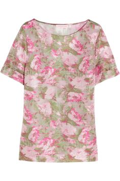 Matthew Williamson|Floral Haze jacquard and silk-organza top|NET-A-PORTER.COM