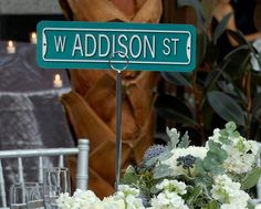 Show guests to their seats with street signs instead of table numbers. #MarthaStewartWeddingsMagazine