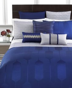 Hotel Collection Links Cobalt Bedding Collection. I currently have this set and it is beautiful! I bought the dark gray sheets & pillow cases instead of the light gray and it is much prettier.