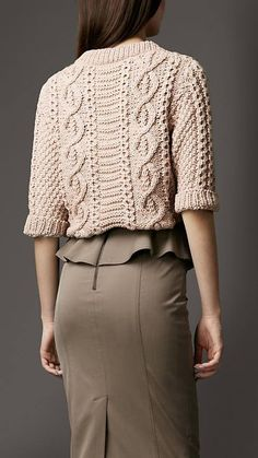 Inspiration only ~  Love the cabling here, still soft and feminine and totally in love with the elbow length sleeve.  Beautiful detail