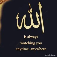 Allah is always watching you anytime, anywhere Quran Quotes Love, Quran Quotes Inspirational, Allah Quotes, Muslim Quotes, Religious Quotes, True Quotes, Arabic Quotes, Hindi Quotes, Prophet Muhammad Quotes