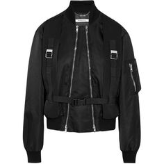 Givenchy Canvas-trimmed shell bomber jacket ($2,995) ❤ liked on Polyvore featuring outerwear, jackets, black, zip bomber jacket, jersey jacket, zipper jacket, blouson jacket and bomber style jacket