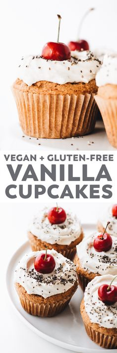 Fluffy, moist Vegan Vanilla Cupcakes – a classic dessert but healthier, these gluten-free cupcakes made with oat flour are easy to make and irresistibly delicious! #vegan #oilfree #glutenfree #baking #dessert #healthy #recipe #easyrecipe #cupcakes