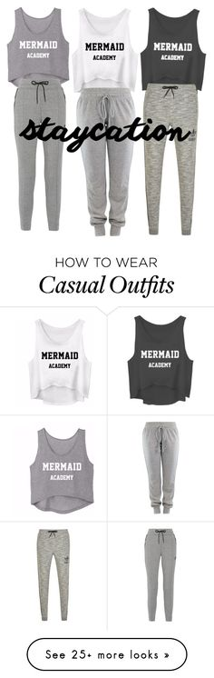 """Sleepover Casual"" by hyacinths on Polyvore featuring adidas Originals and NIKE"