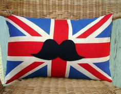 Moustache pillow cover Union Jack pillow cover  by chezlele, $21.00