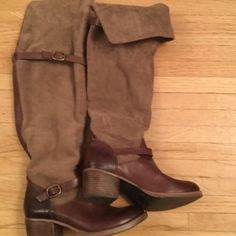 Lucky brand boots 7.5 Lucky brand excellent condition worn 3 times.  Beautiful brown and tan leather and suede. 7.5 Lucky Brand Shoes Over the Knee Boots