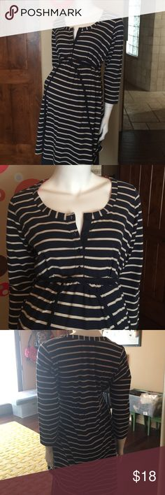 """Boden Maternity Stripe Tunic size 10 Very good used condition, slight color fade from wash and wear. Boden Maternity navy white stripe Tunic size 10. 53% Cotton 42% Modal. Armpit to armpit measures 18"""" Length is 32"""" Thanks for looking. Please take a peek at my other items for sale. Bundle and save! Thank you for the shares. Boden Tops Tunics"""