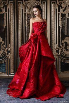 rami kadi couture fall 2012 2013 red silk jacquard draped ball gown