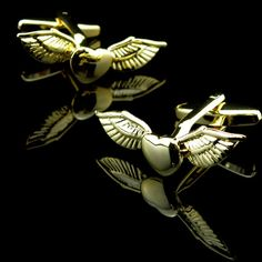 Gold Heart with Wings Cufflinks