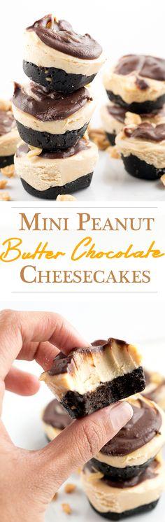 Mini Peanut Butter Cheesecakes With Chocolate Ganache Swirl.