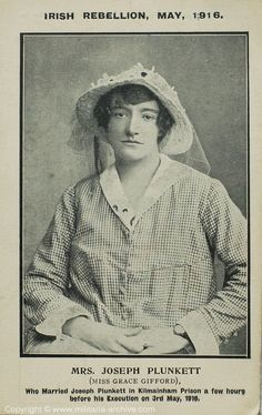Today we remember Grace Gifford Plunkett; A talented Artist, Grace Gifford Plunkett married Joseph Plunkett the night before his execution and became a Republican activist. Grace Gifford was born in Rathmines, Dublin on March 1888 Ireland 1916, Irish Independence, Irish Republican Army, Easter Rising, Irish Mythology, Irish People, Erin Go Bragh, Women In History, Local History