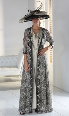 Buy Florentyna Dawn Long V-Necked Francesca Panelled Dress with Diamante Black and Gold Long Lace Jacket in Mother of the Bride. Lace Jacket, Jacket Style, Wedding Trouser Suits, Dresses Uk, Bride Dresses, Long Dresses, Wedding Outfits For Groom, Panel Dress, Lace Weddings