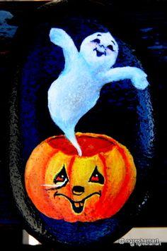 halloween decor,happy ghost in a pumpkin,handpainted rocks,rock art