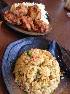 Chahan (チャーハン) e Karaague (から揚げ) frango frito japonês
