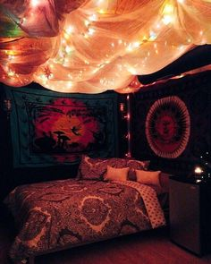 Hippie Room Decor, Bohemian Bedroom Decor, Hipster Bedroom Decor, Indie Room, Room Ideas Bedroom, Cozy Bedroom, Master Bedroom, Bed Room, Bedroom Designs