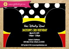 Printable Mickey Mouse Inspired Birthday Party Invitation DIY - mickey mouse clubhouse ears invite boy girl birthday party child children