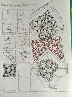 ConneSSes. Tangle Pattern and Examples by Diana Schreur, CZT / Didisch website.
