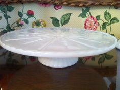 Milk Glass Cake Stand Plate by Anchor Hocking by JaybirdFinds, $26.00