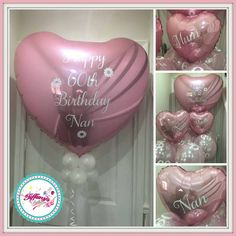 Jumbo Personalised Balloons - 3ft Heart with Balloon Collar and Tulle