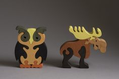Owl And Moose wooden puzzle