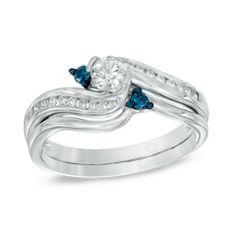 5/8 CT. T.W. Enhanced Blue and White Diamond Three Stone Slant Bridal Set in 14K White Gold