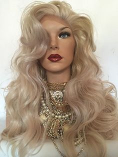 Blonde Pale Pink Lace Front Wig 22""