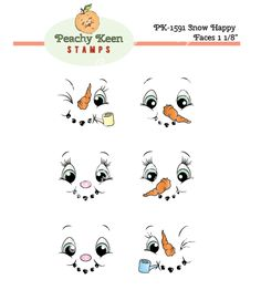PK-1591 Snow Happy Face Stamps 1-1/8th inch: Peachy Keen Stamps | Home of the original clear, peach-tinted, high-quality whimsical face stamps.