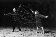 """Gilbert Garcin, """"The bonds of marriage"""". Using himself as a stand-in, Gilbert… Photomontage, Gilbert Garcin, Tableaux Vivants, Theater, Soul Ties, String Theory, Magritte, Stage Design, Kinds Of People"""